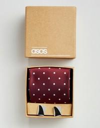 Набор из галстука и запонок в горошек ASOS Wedding - Burgundy