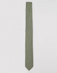 Узкий галстук цвета хаки в горошек ASOS - Хаки
