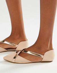 Туфли на плоской подошве с ремешками цвета металлик Lost Ink Beau
