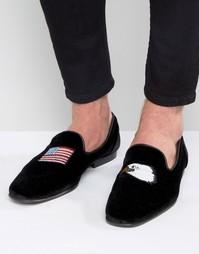 Черные замшевые лоферы с вышивкой ASOS - Черный