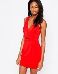 Облегающее платье с золотистой пластиной AX Paris - Красный