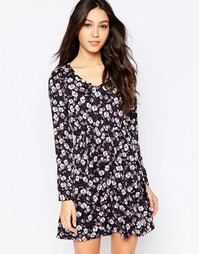 Платье с цветочным принтом и поясом Mela Loves London - Темно-синий