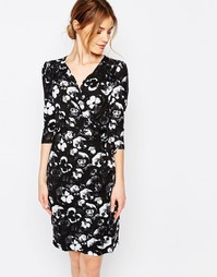 Платье-футляр с рукавами 3/4 и цветочным принтом Uttam Boutique