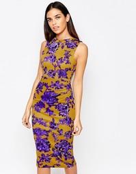 Фиолетовое платье миди с принтом Vesper - Горчичный