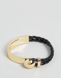 Браслет с плетеной и металлической отделкой ASOS - Золотой