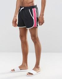 Черные шорты для плавания с контрастной сетчатой вставкой ASOS