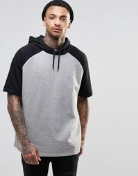 Oversize-худи с контрастными короткими рукавами ASOS - Серый