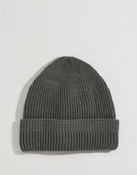 Серая вязаная рыбацкая шапка‑бини ASOS - Серый
