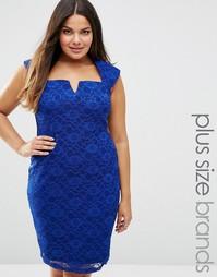 Кружевное платье-футляр Goddiva Plus - Королевский синий