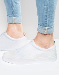 Белые кроссовки-слипоны из неопрена с резинками ASOS - Белый
