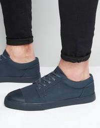 Темно-синие кеды на шнуровке с контрастным носком ASOS - Темно-синий