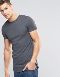Облегающая футболка в рубчик с молниями сбоку ASOS