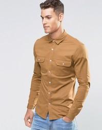 Рубашка скинни в стиле милитари с длинными рукавами ASOS - Рыжий
