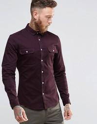 Саржевая рубашка скинни цвета ржавчины в стиле милитари ASOS