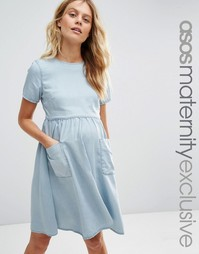 ASOS Maternity Denim Full Swing Dress - Синий