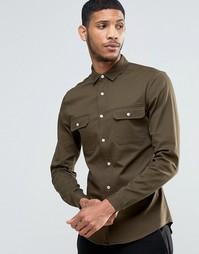 Рубашка скинни цвета хаки с длинными рукавами ASOS - Хаки
