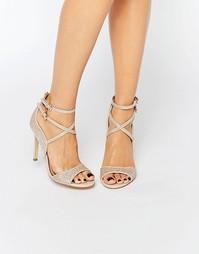 Босоножки на каблуке с ремешками Miss KG Steffan - Золотистый материал