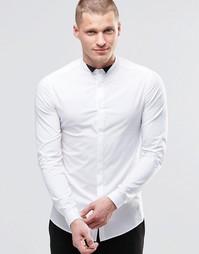 Белая рубашка с контрастным воротником и длинными рукавами ASOS