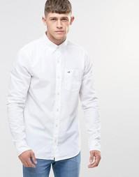 Белая поплиновая рубашка узкого кроя Hollister - Белый