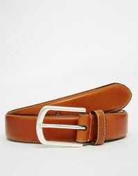 Кожаный ремень с декоративной строчкой Esprit - Коричневый