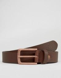 Кожаный ремень с пряжкой цвета розового золота ASOS - Коричневый