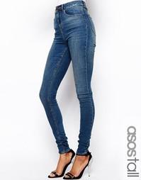 Тертые cиниe джинсы скинни с завышенной талией ASOS PETITE Ridley