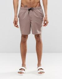 Коричневые шорты для плавания средней длины ASOS - Коричневый