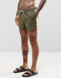 Короткие шорты для плавания цвета хаки с лентой по бокам ASOS