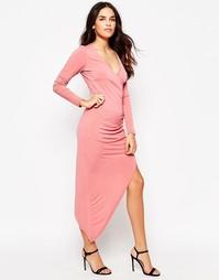 Асимметричное платье с V‑образным вырезом Glamorous - Пыльно-розовый