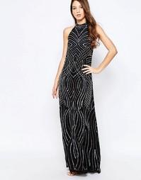 Платье-халтер макси Glamorous - Черный с отделкой бисером