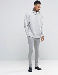 Серые меланжевые супероблегающие джоггеры в стиле casual ASOS - Серый