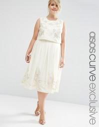 Платье миди с цветочным декором ASOS CURVE - Кремовый