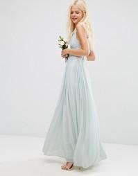 Платье макси ASOS WEDDING Hollywood - Нежно-голубой