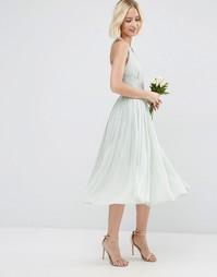Платье миди ASOS WEDDING Hollywood - Нежно-голубой