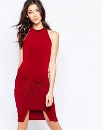 Платье с драпировкой на юбке Wal G - Ягодно-красный