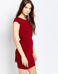 QED London Structured Pencil Dress - Wine