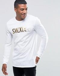 Белая футболка с длинными рукавами и принтом Nike 777875-100 - Белый