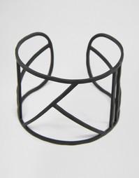 Черный матовый браслет с геометрическим дизайном ASOS - Черный