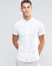 Белая оксфордская рубашка облегающего кроя с логотипом ASOS - Белый