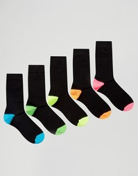 Набор из 5 пар носков с неоновыми пяткой и носком ASOS - Черный