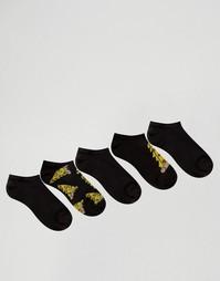 5 пар спортивных носков с принтом пиццы ASOS - Черный