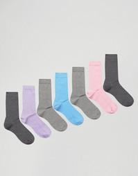 Набор из 7 пар носков пастельных оттенков ASOS - Мульти