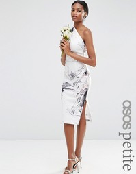 Платье миди на одно плечо с мраморным принтом ASOS PETITE - Мульти