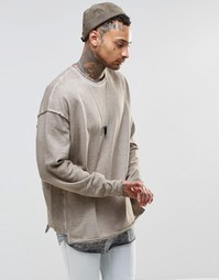 ASOS Oversized Washed Sweatshirt In Oil Wash - Хаки