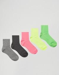 Набор из 5 пар носков неонового и серого цветов ASOS - Мульти