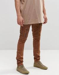 Суперзауженные брюки-карго с молниями ASOS - Имбирный