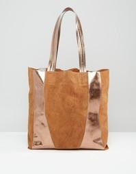 Кожаная сумка-шоппер цвета металлик Urbancode