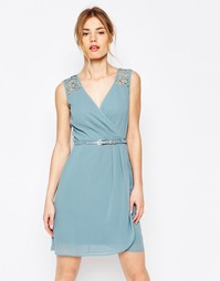 Платье с ремнем и ажурной отделкой Uttam Boutique - Бледно-синий