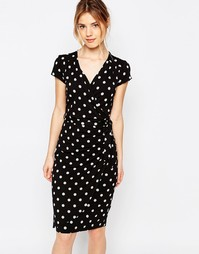 Платье в горошек с запахом Uttam Boutique - Черный