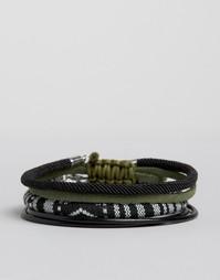 Набор плетеных браслетов черного цвета и оттенка хаки ASOS - Черный